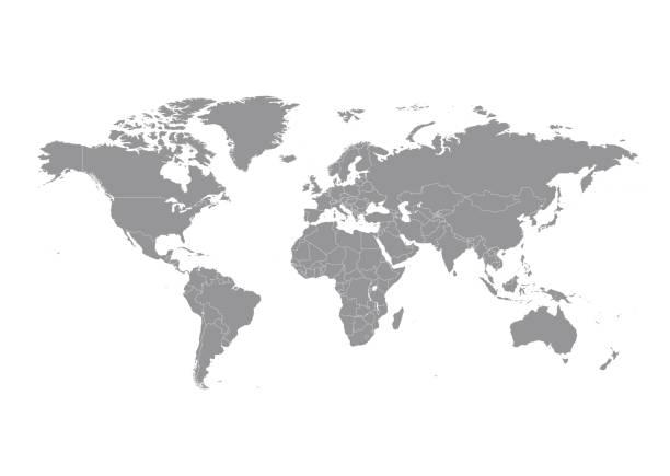 mapa świata z wektorem krajów - globalny stock illustrations