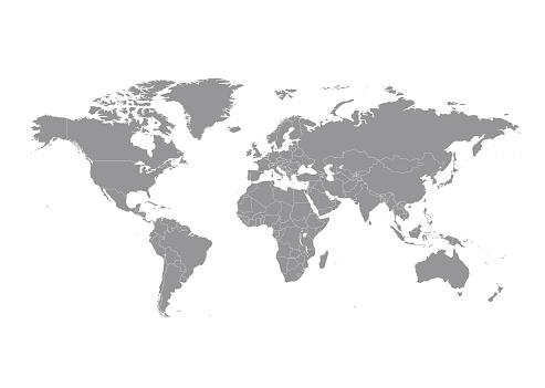 Ülkeler Vektör Ile Dünya Haritası Stok Vektör Sanatı & Afrika'nin Daha Fazla Görseli