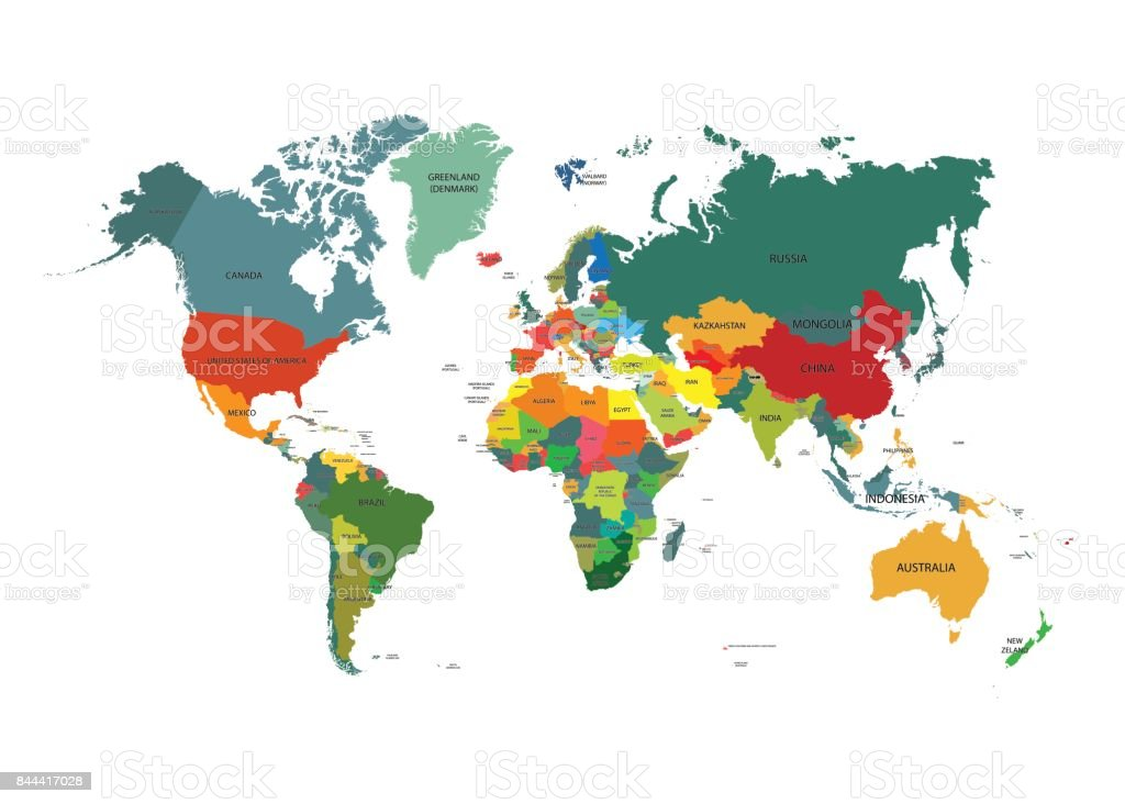 World map with country names vector art illustration