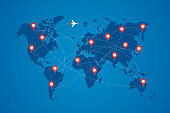 World map with destination marker pins and plane travel routs. Top view airplane with flight paths between continents vector blue eps illustration