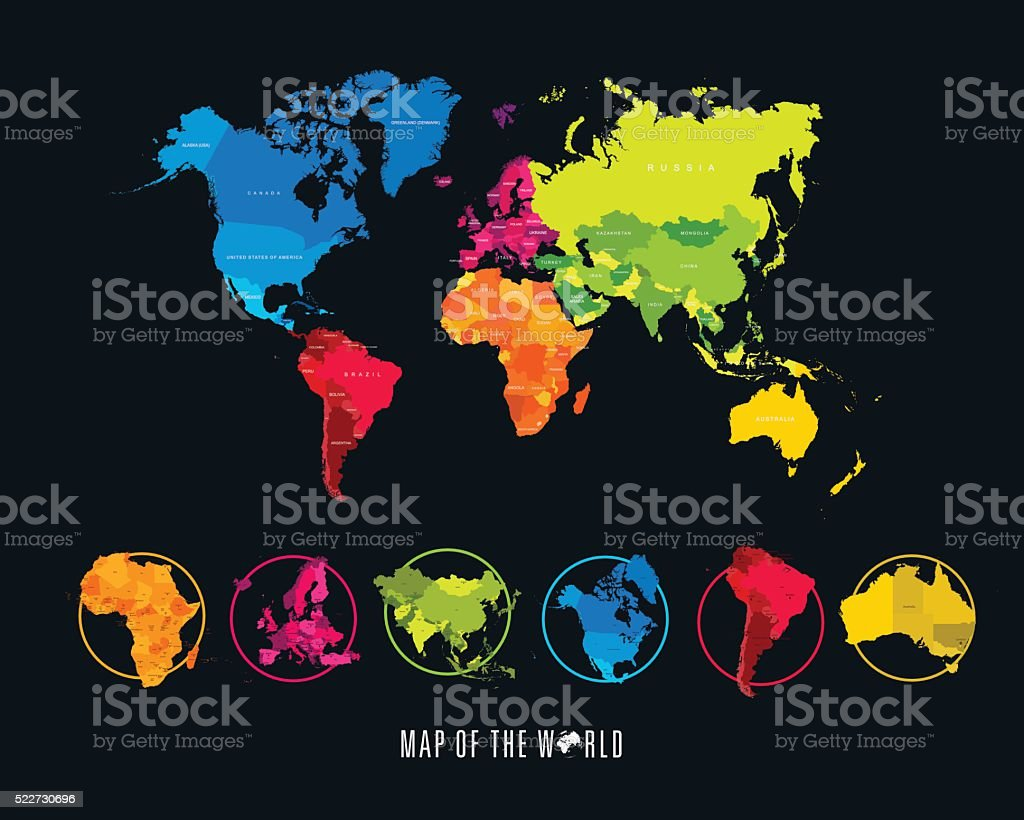 World map with different colored continents illustration stock world map with different colored continents illustration royalty free world map with different colored gumiabroncs Choice Image