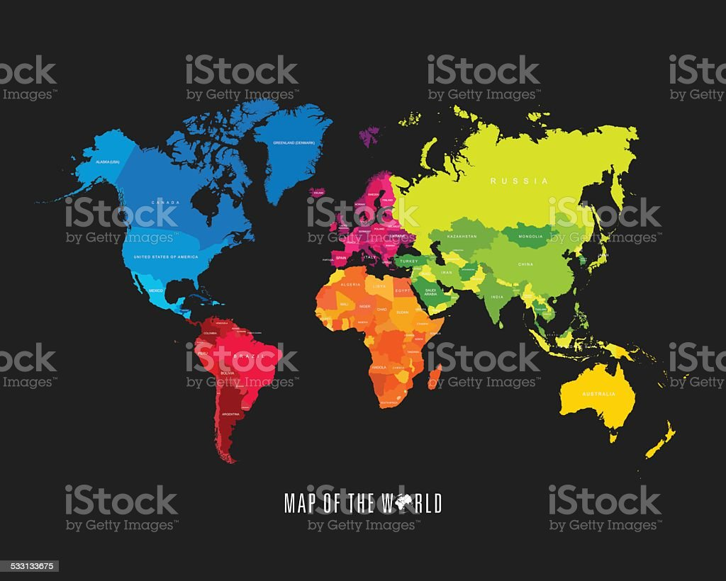 World map with different colored continents - Illustration vector art illustration