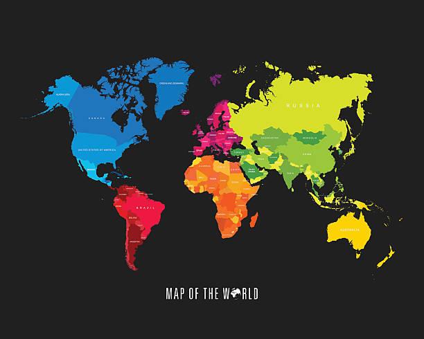 Vectores de paises y illustraciones libre de derechos istock mapa mundial con colores diferentes continentes ilustracin ilustracin de arte vectorial gumiabroncs Images
