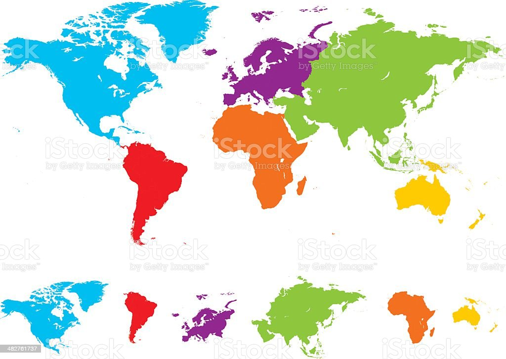 World map with different colored continents stock vector art world map with different colored continents royalty free stock vector art gumiabroncs Images