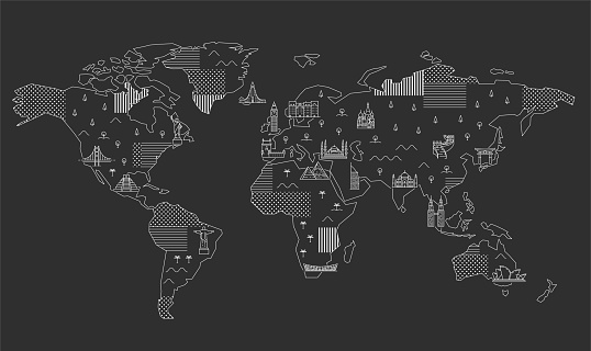 World Map with Famous Landmarks.
