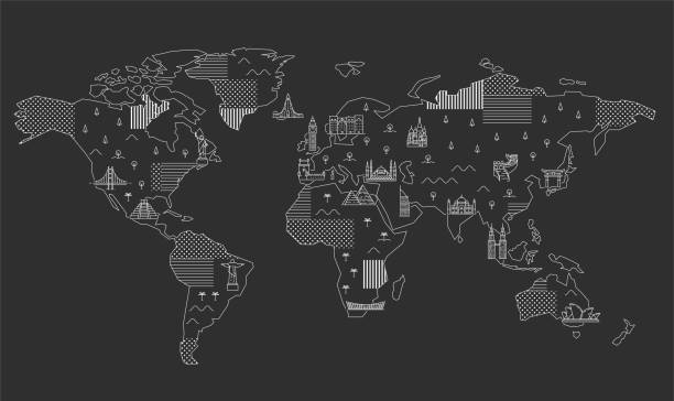 World Map with Famous Landmarks. World Map with Famous Landmarks. Line art illustration continent geographic area stock illustrations