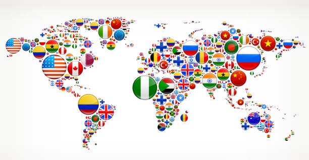 世界地図とフラグボタン - ロシアの国旗点のイラスト素材/クリップアート素材/マンガ素材/アイコン素材