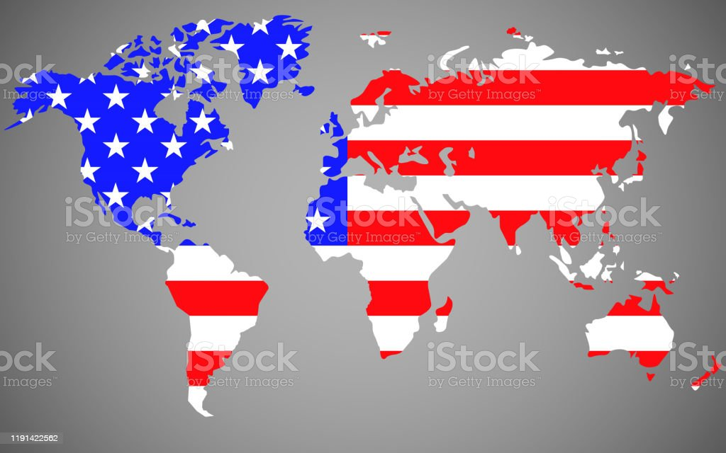 World Map With Flag United States Of America Stock Illustration Download Image Now Istock