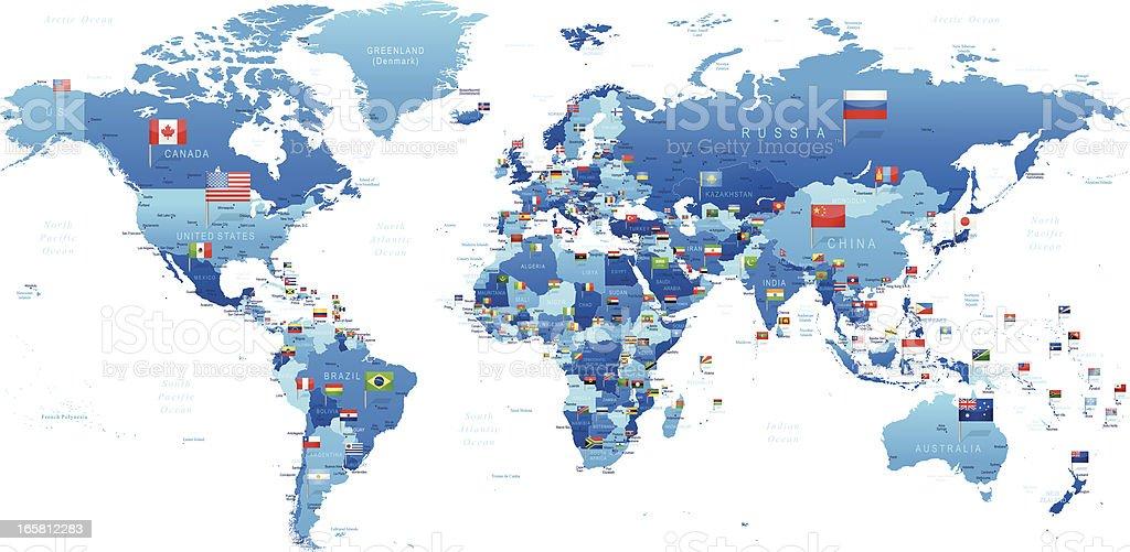 Mapa mundial con banderas - ilustración de arte vectorial