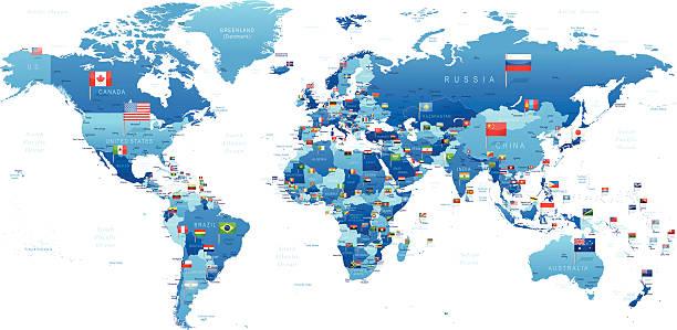 illustrations, cliparts, dessins animés et icônes de carte du monde avec drapeaux - cartes et drapeaux