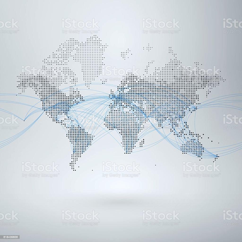 World Map with Flight Paths vector art illustration