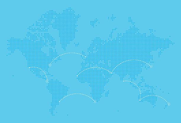 ilustraciones, imágenes clip art, dibujos animados e iconos de stock de world map with flight paths - viaje a sudamérica