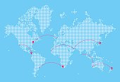 A detailed world map illustration made up of dots with flight path lines curving between destinations. The map highlights popular airports and flight paths across the world and is an ideal design element for your project. It's easy to colour and customise if required and can be scaled to any size without loss of quality.