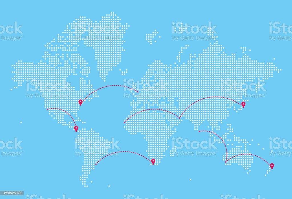 World Map with Flight Paths - Illustration vectorielle