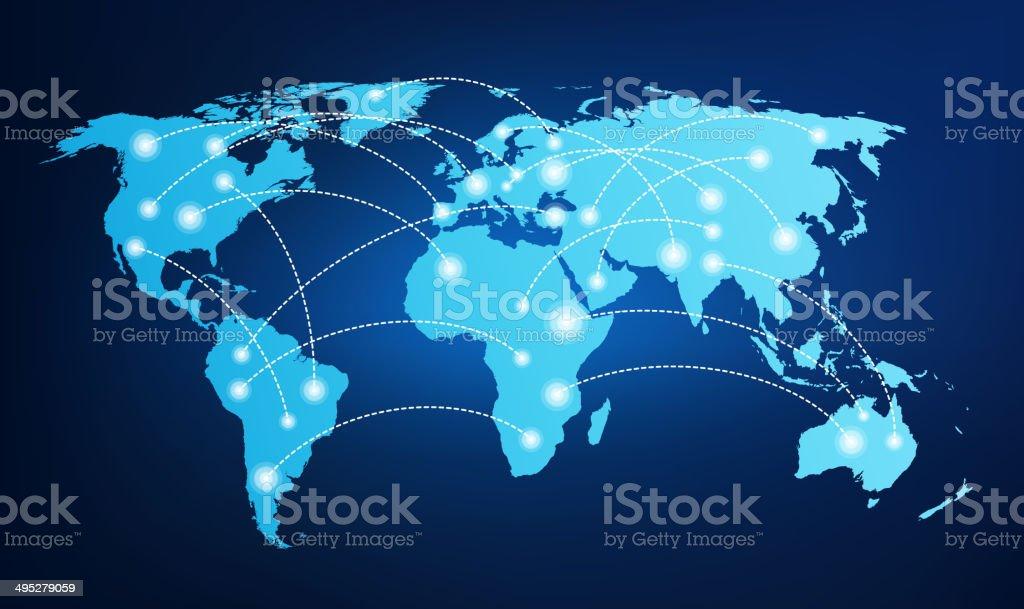 Mapa mundial con conexiones global - ilustración de arte vectorial