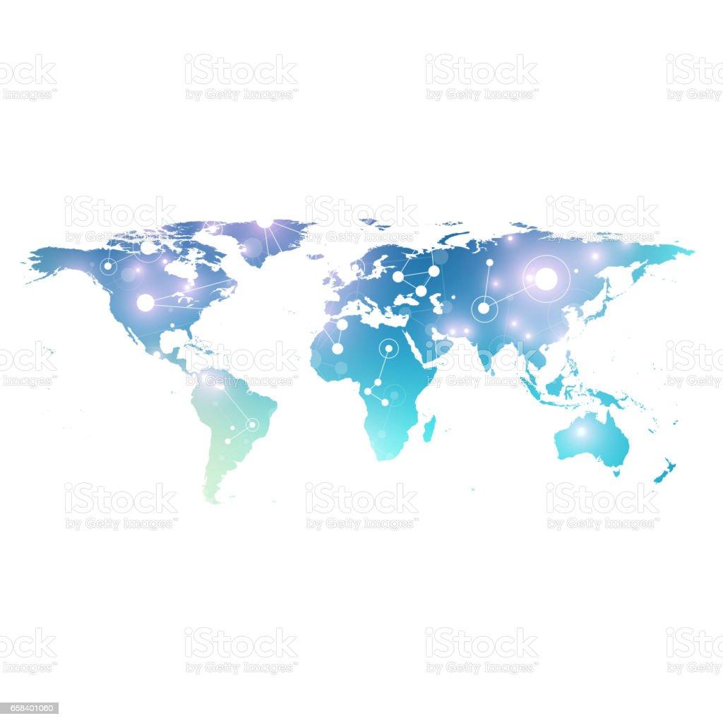 Ilustracin de world map with global technology networking concept world map with global technology networking concept digital data visualization lines plexus big gumiabroncs Image collections