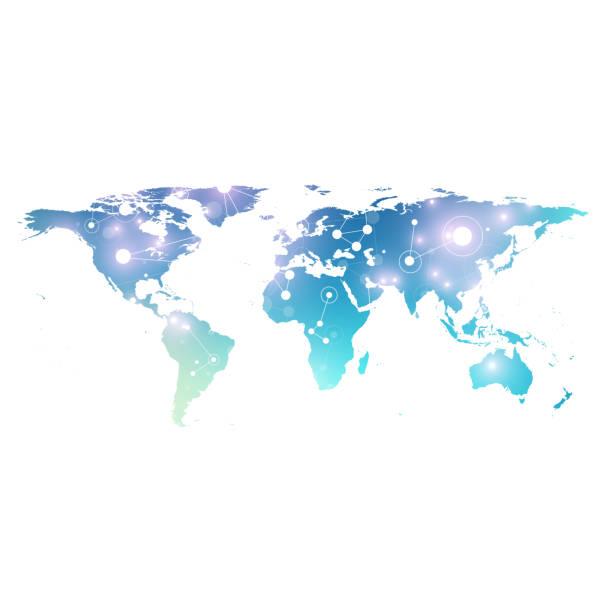 mapa świata z globalną koncepcją sieci technologicznych. wizualizacja danych cyfrowych. linie splotu. komunikacja w tle big data. ilustracja wektora naukowego - globalny stock illustrations