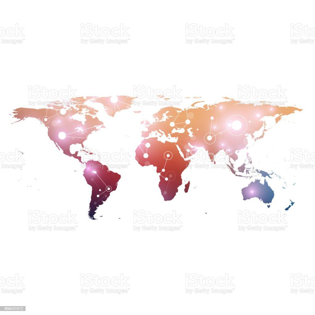 World map with global technology networking concept. Digital data visualization. Lines plexus. Big Data background communication. Scientific vector illustration vector art illustration