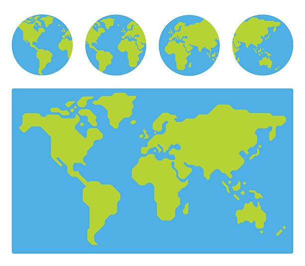 world map with globes - minimalist stock illustrations