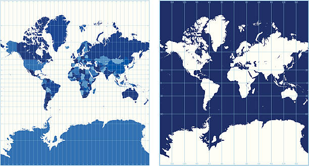Royalty free mercator world map clip art vector images world map with graticules mercator projection vector art illustration sciox Choice Image
