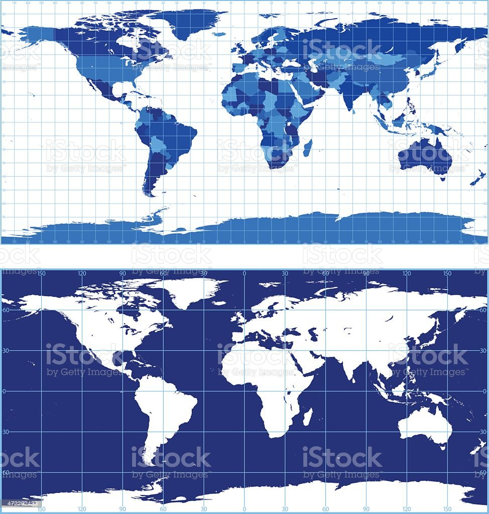 World map with graticules (plate carree projection) royalty-free stock vector art