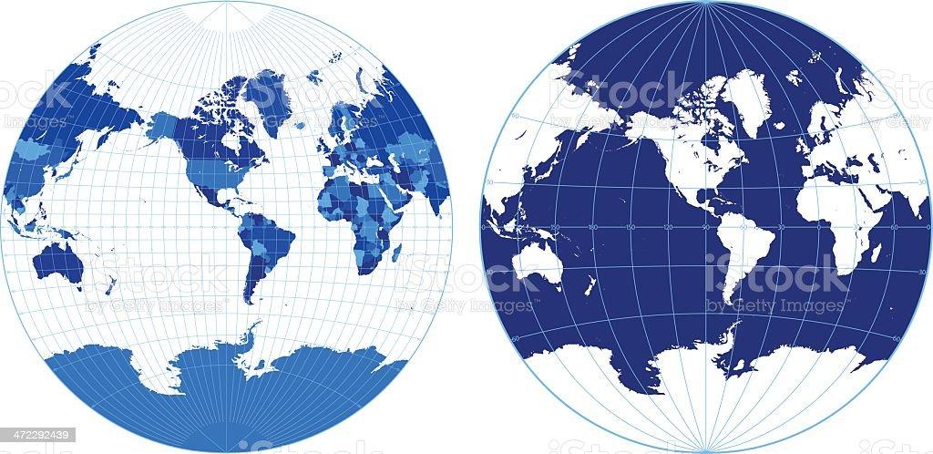 World map with graticules (Van Der Grinten projection) royalty-free stock vector art
