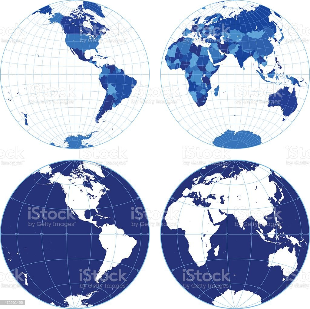 World map with graticules (western/eastern hemispheres) vector art illustration