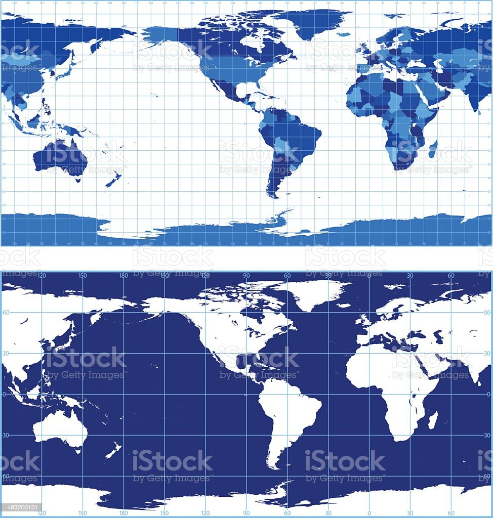 World map with graticules (plate carree projection) royalty-free world map with graticules stock vector art & more images of accuracy