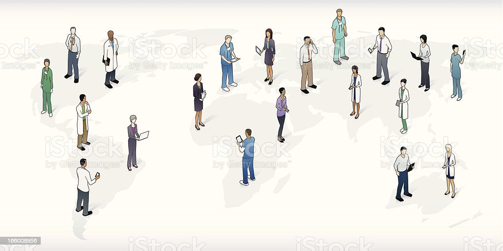 World Map with Healthcare Professionals vector art illustration
