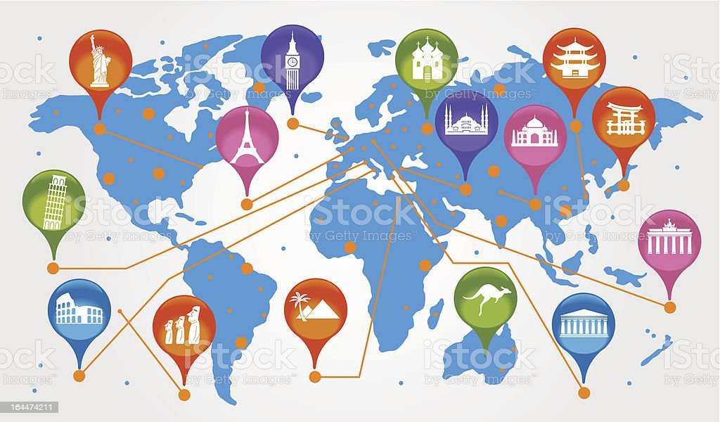 World map with icons showing famous landmarks stock vector art world map with icons showing famous landmarks royalty free world map with icons showing famous gumiabroncs Gallery