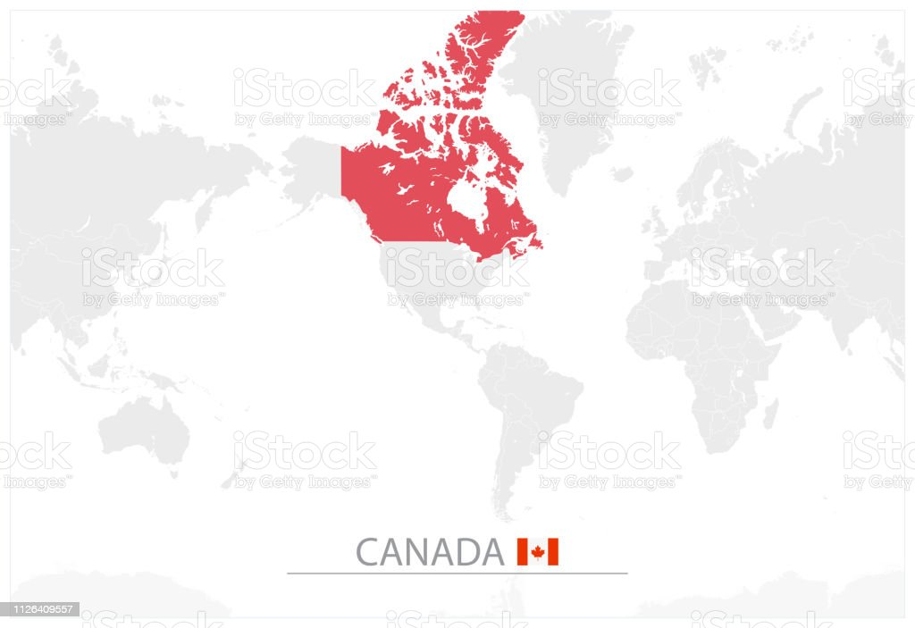 World Map With Identification Of Canada Stock Illustration