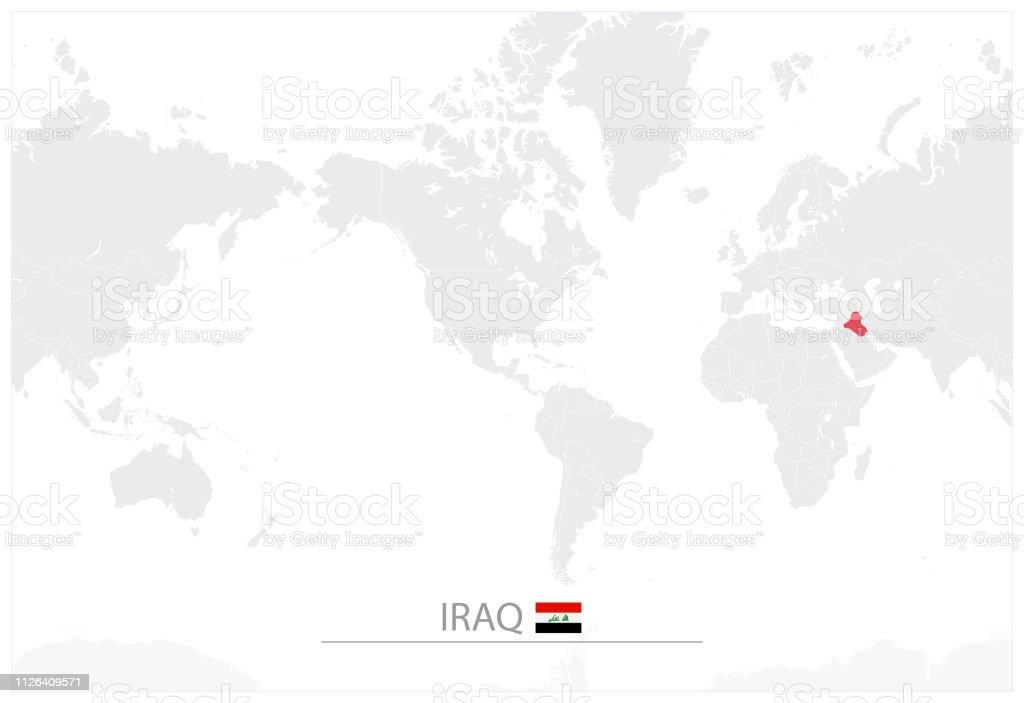 World Map With Identification Of Iraq Stock Illustration ...