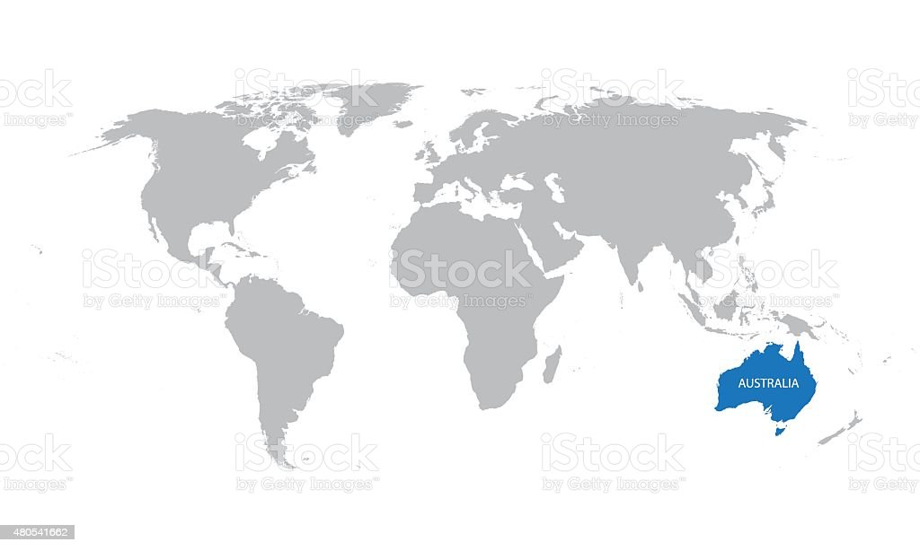 World Map With Indication Of Australia Stock Vector Art More