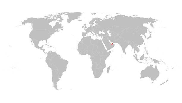ilustraciones, imágenes clip art, dibujos animados e iconos de stock de mapa mundial con indicación de emiratos árabes unidos - mapa de oriente medio