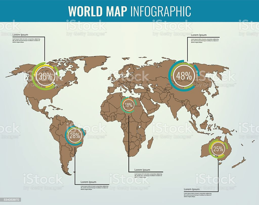 World Map With Infographic Elements All Countries Are Selectable