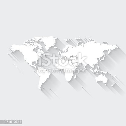 istock World map with long shadow on blank background - Flat Design 1271610744