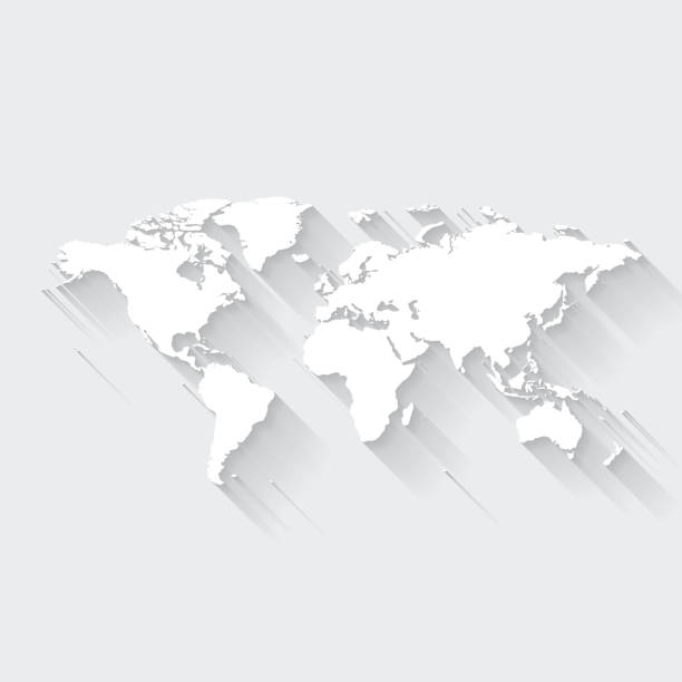 World map with long shadow on blank background - Flat Design vector art illustration