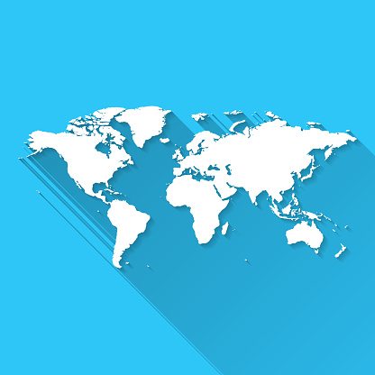 World map with long shadow on blue background - Flat Design