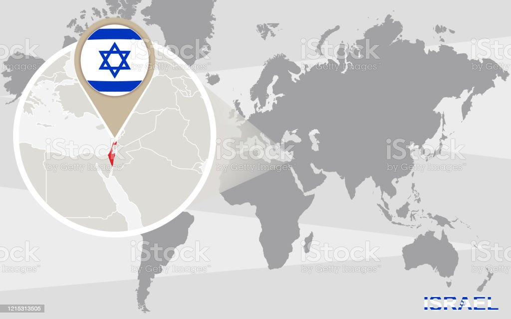 World Map With Magnified Israel Stock Illustration Download Image Now Istock