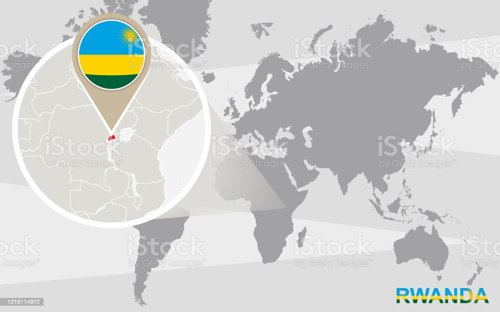 Image of: World Map With Magnified Rwanda Stock Illustration Download Image Now Istock