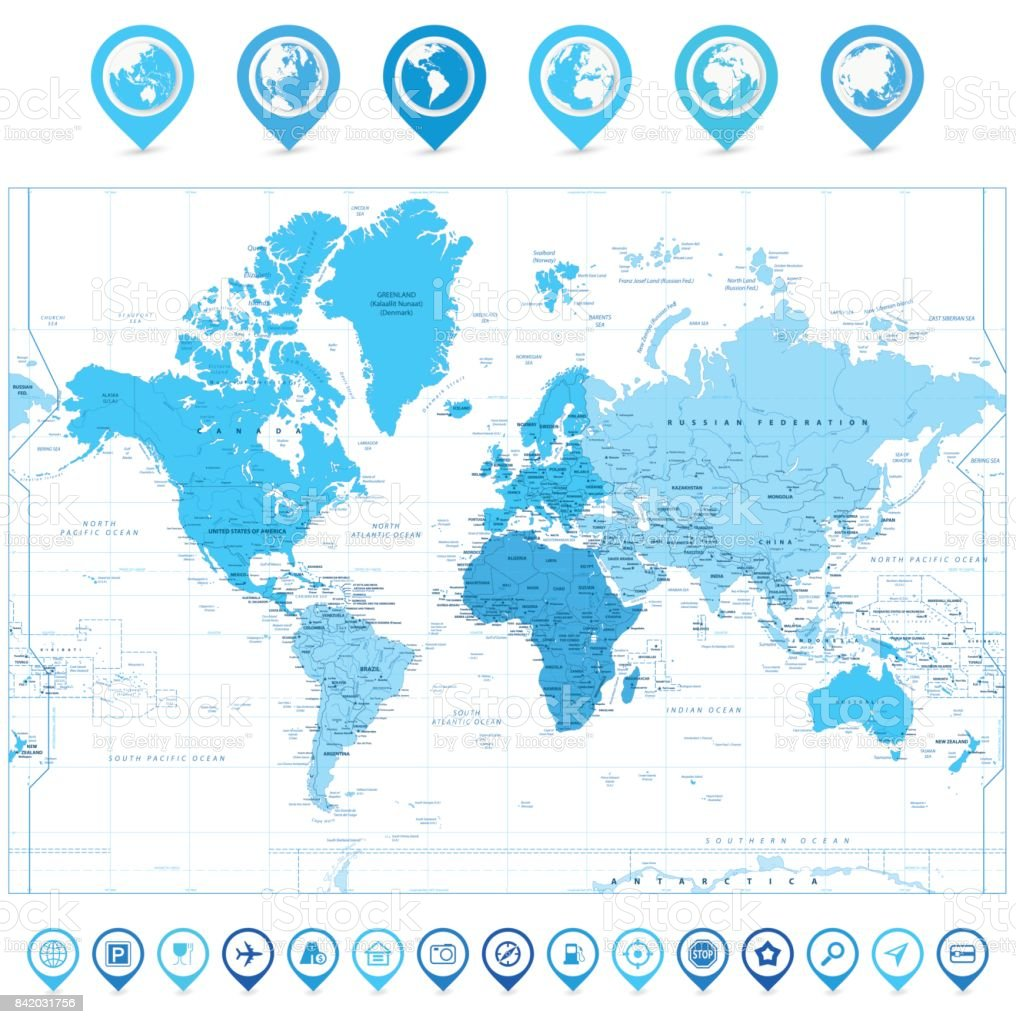 World map with map pointers and continents in colors of blue world map with map pointers and continents in colors of blue isolated on white royalty gumiabroncs Images