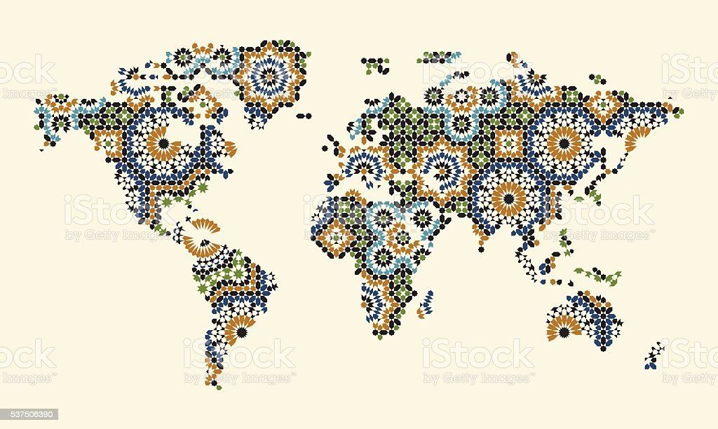 World Map With Morocco Mosaic Stock Vector Art & More Images of ...