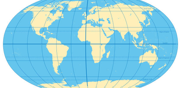 World map with most important circles of latitudes and longitudes vector art illustration