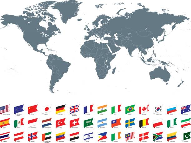 World map with most popular flags against white background Gray world map with most popular flags against white background. The url of the reference to political map is: http://www.lib.utexas.edu/maps/world_maps/united_states_foreign_service_posts-september_2011.pdf eurasia stock illustrations