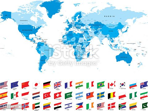 Blue world map with most popular flags against white background. The url of the reference to political map is: http://www.lib.utexas.edu/maps/world_maps/united_states_foreign_service_posts-september_2011.pdf