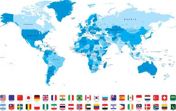 白い背景に、最も人気のあるフラグと世界地図 - アジア地図点のイラスト素材/クリップアート素材/マンガ素材/アイコン素材