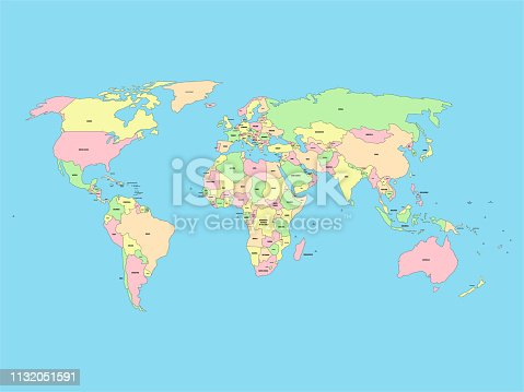 istock World map with names of sovereign countries and larger dependent territories. Simplified vector map in four colors on blue background 1132051591