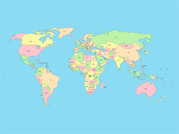 illustrazioni stock, clip art, cartoni animati e icone di tendenza di world map with names of sovereign countries and larger dependent territories. simplified vector map in four colors on blue background - huế
