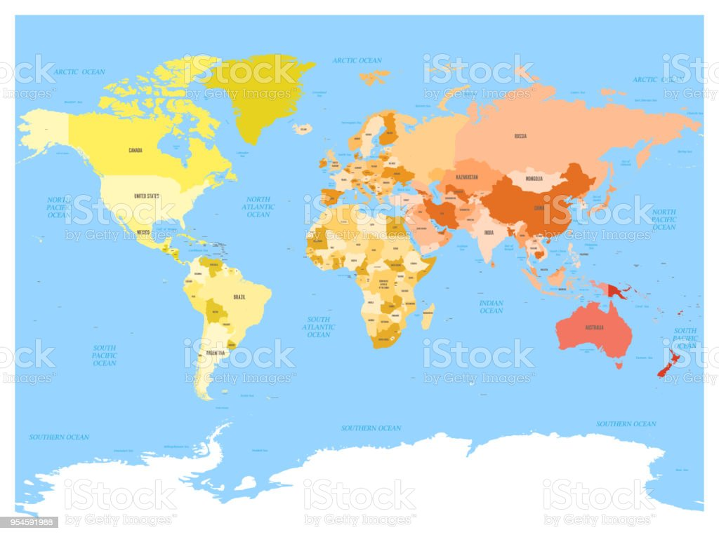 World Map With Names Of Sovereign Countries And Larger Dependent ...