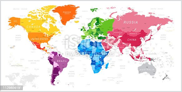 World Map North America, South America, Africa, Europe, Asia, Oceania Continents and Oceans on white background